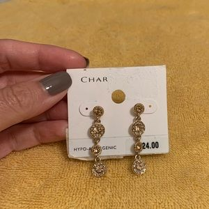 Gold rhinestone dangling earrings -Charter Club